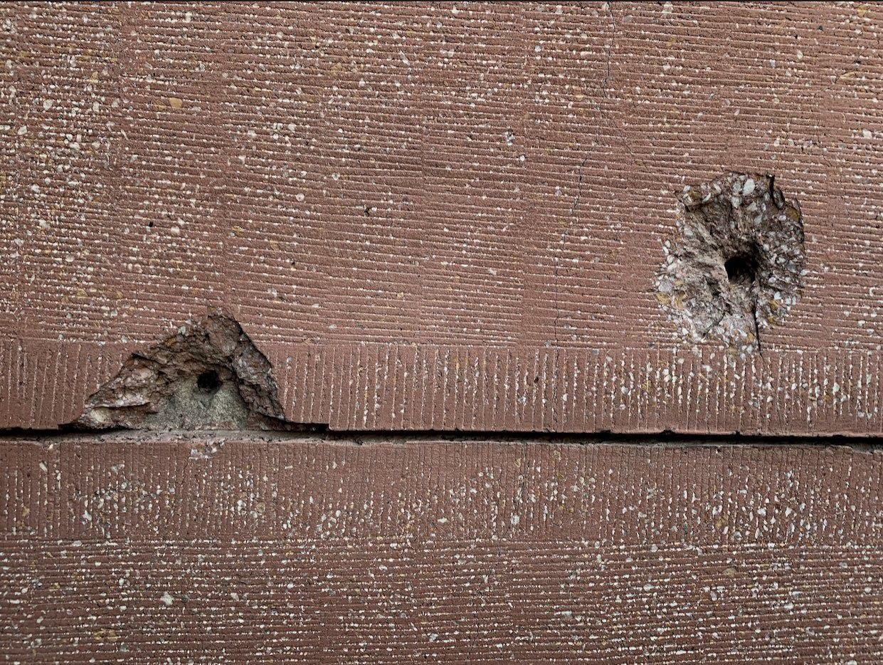 Bullet holes in the walls of one of the Mosques in Lahore.